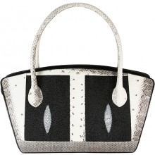Genuine snake and stingray leather bag ISSNSTB193 Bone / Black