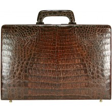 Genuine alligator leather attache case JB009B-G Brown
