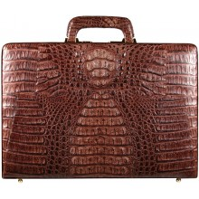 Genuine alligator leather attache case JBCP-G Brown