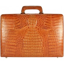Genuine alligator leather attache case JBCP-S Tan
