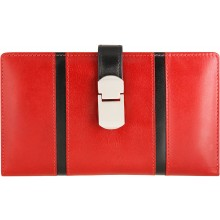 Genuine cow leather wallet JS1772 Red / Black