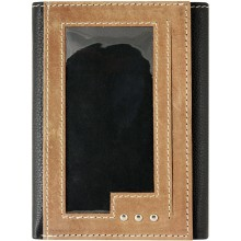 Genuine cow leather wallet JS1806 Black / Brown