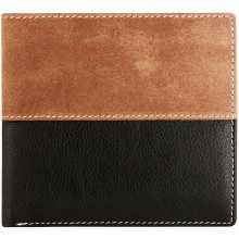 Genuine cow leather wallet JS1807 Black / Brown