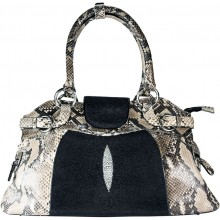 Genuine python and stingray leather bag JSNB024PT-ST Natural / Black