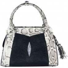 Genine Python And Stingray Leather Bag Jsnb025pt St Natural Black