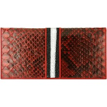 Genuine python and stingray leather wallet LD-SN-008 Burgundy / Black