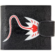 Genuine stingray and snake leather wallet LDST04 Black / Red