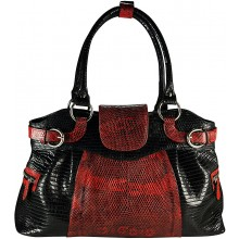 Genuine lizard leather bag JLIZB024 Black / Red