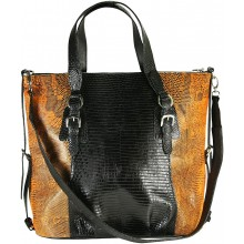 Genuine lizard leather bag LIZBAG50 Black / Orange