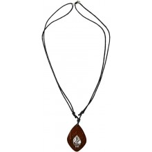 Coconut with silver inlay necklace N147