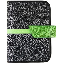 Genuine stingray leather card holder NB21SA Black / Green
