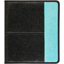 Genuine stingray leather card holder NB23SA Black / Turquoise