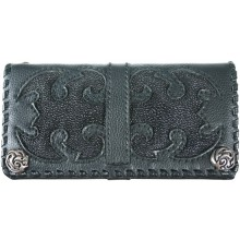 Genuine stingray and calf leather wallet NRSTW001L Black