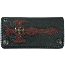 Genuine stingray and calf leather wallet NRSTW002L Black / Burgundy