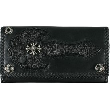 Genuine stingray and calf leather wallet NRSTW002L Black