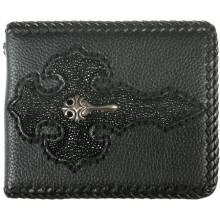 Genuine stingray and calf leather wallet NRSTW004S Black