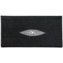 Genuine stingray leather checkbook cover NTR48 Black