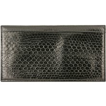 Genuine sea snake leather check book cover NTSN48 Black