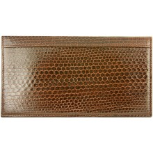Genuine sea snake leather check book cover NTSN48 Brown