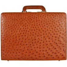 Genuine ostrich leather attache case OS044-02 Peanut