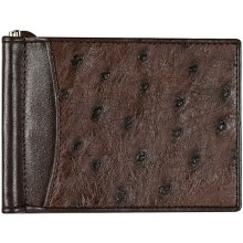 Genuine ostrich leather money clip OS2392A Brown