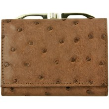 Genuine ostrich leather exclusive wallet OS872 Brown