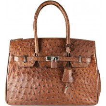 Genuine ostrich leather bag OSBAG122 Brown