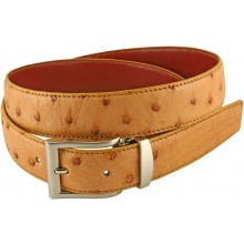 Genuine ostrich leather belt OSBELT001 Tan