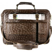 Genuine ostrich leather briefcase OSBRIEF8805 Brown