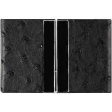 Genuine ostrich leather card case OSCARD008 Black
