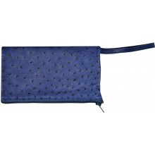 Genuine ostrich leather jewelry pouch OSJP002L Midnight Blue