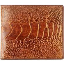 Genuine ostrich leather wallet OSOL04 Tan