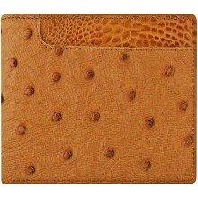 Genuine ostrich leather wallet OSW2-100A Tan