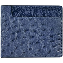 Genuine ostrich leather wallet OSW2-580A Midnight Blue