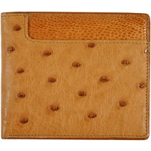 Genuine ostrich leather wallet OSW2-580A Tan