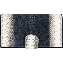 Genuine snake and stingray leather wallet PATW130PIN-ST Natural / Grey