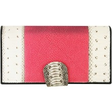 Genuine snake and stingray leather wallet PATW130PIN-ST Natural / Pink