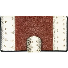 Genuine snake and stingray leather wallet PATW130PIN-ST Natural / Wine