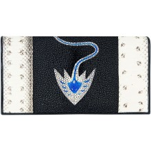Genuine snake and stingray leather wallet PATW131PIN-ST Natural / Black / Blue