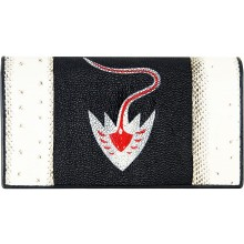 Genuine snake and stingray leather wallet PATW131PIN-ST Natural / Black / Red