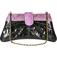 Genuine python snake leather bag PBG874PT-G Black / Violet