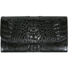 Genuine alligator leather wallet PCM03 Black