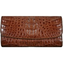 Genuine alligator leather long wallet PCM03 Brown