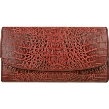 Genuine alligator leather wallet PCM03 Burgundy