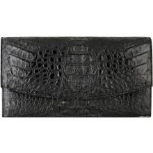 Genuine alligator leather wallet PCM04 Black