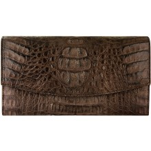 Genuine alligator leather wallet PCM04 Brown