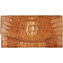 Genuine alligator leather wallet PCM04 Tan