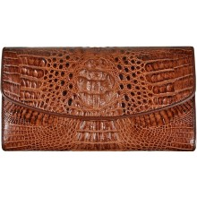 Genuine alligator leather wallet PCM05 Brown