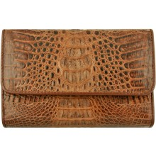 Genuine alligator leather long wallet PCM814 Brown