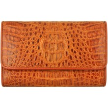 Genuine alligator leather long wallet PCM814 Tan